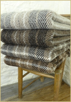 Cotswold Woollen Weavers' Natural British Wool Plaid and Stripe Throws