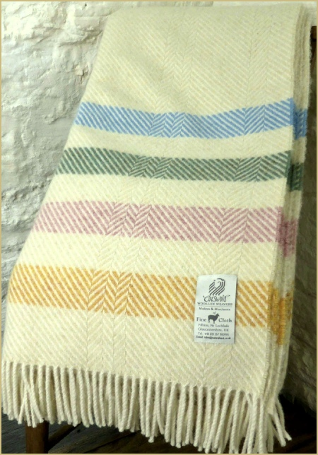 Cotswold Woollen Weavers' Witney Contemporary Point Blanket Throw Pastel