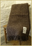 Natural British Wool Leno Throw - Charcoal