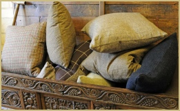 Woollen cushions galore!... All woven by Cotswold Woollen Weavers