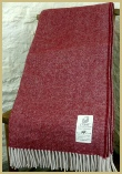 Cotswold Woollen Weavers' Lambswool Wide Herringbone Throw Berry