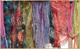 Hand-woven silk scarves, inlaid with exotic yarns, from Cotswold Woollen Weavers