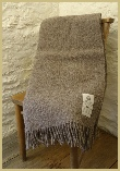 Natural British Wool Leno Throw - Grey
