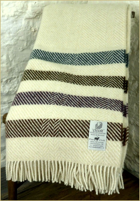 Cotswold Woollen Weavers' Witney Contemporary Point Blanket Throw Muted