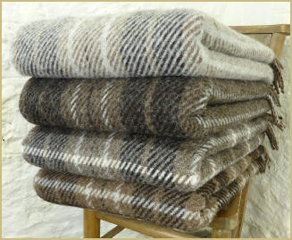 Natural British Wool Plaid & Stripe Throws
