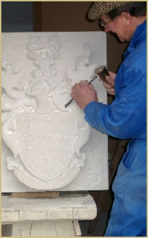 Stonework in the Filkins Stone Company studio and workshops