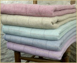 Lambswool pastel Windowpane Throw from Cotswold Woollen Weavers
