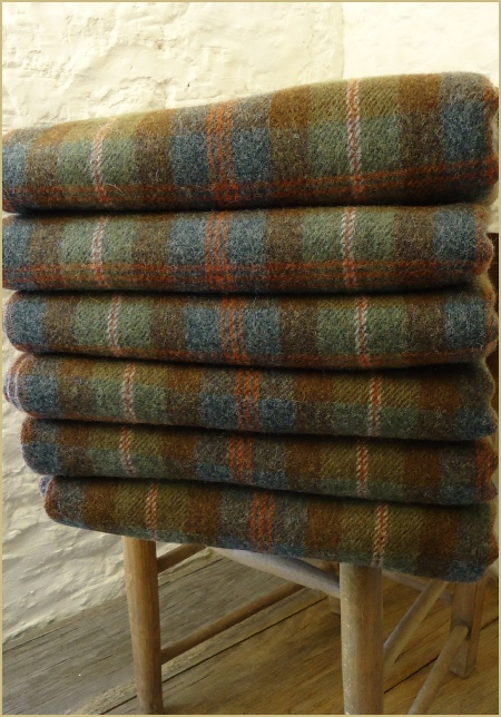 Lady Borrodale Shetland Plaid Throw in aged colours