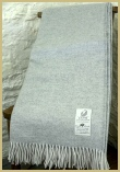 Cotswold Woollen Weavers' Lambswool Wide Herringbone Throw Mist